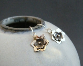 tiny silver flower earrings small sterling silver dangle rustic jewelry oxidized black and silver rivet antiqued nature simple gardener gift