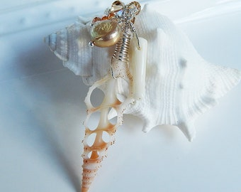 Spiral Shell Necklace / Beach, Sea Shell, Freshwater Pearl, Coral, Swarovski Crystal, Sterling Silver, Hawaii