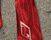 Retro Swing 1940s Red formal tie Diamond Printed Swank Mid Century Mans Necktie Atomic Jazz Lounge Wear
