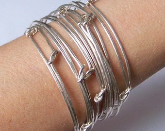 Silver Bangles - Silver Bangle Bracelets - 15 Bangle Bracelets - Hammered Knotted Bangles - Available in German Silver or Silver Filled