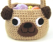 Easter Basket Pug Puppy Dog Crochet Pattern PDF INSTANT DOWNLOAD