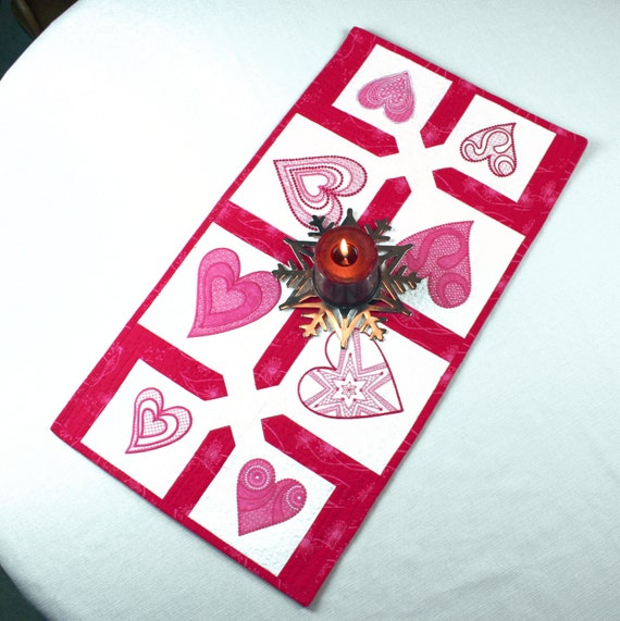 Pink and White Hearts Quilted Table Runner - Machine Embroidered