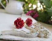 Flower Earrings, Red Rose Earrings, Vintage Coral Flower Post Earrings - Red
