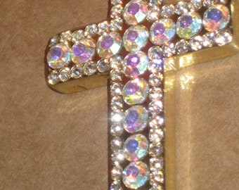 Stunning Gold Tone Cross Pendant with Magnificent Iridescent Crystal Rhinestones