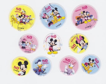 Lot of 10 ADORABLE Disney Postage Stamps Mickey Mouse Donald Duck Daidy Duck Minnie from Japan