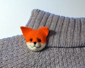 Red Fox Brooch, needle felted miniature, jewelry, orange, white, wool, handmade