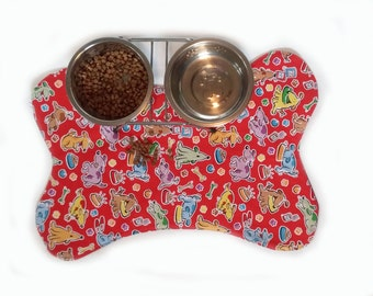 Dog Feeding Dish Placemat Red Cartoon Dogs