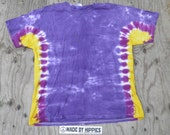 Purple with Gold Side Stripes Tie Dye T-Shirt (Fruit of the Loom Size XL) (One of a Kind)