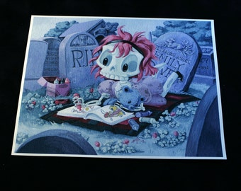 Wee Emily Dover - 8x10 inch Skeleton Girl Coloring in Graveyard Archival Digital Print
