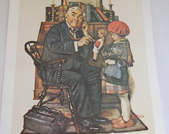 Vintage Norman Rockwell The Doctor and the Doll print on linen
