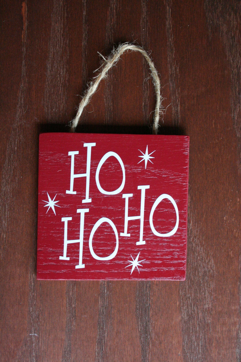 Decorative wooden christmas sign ho red by