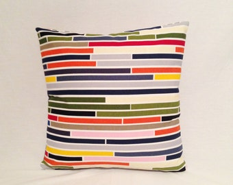 Pillow Red,Orange,Blue,Green,Yellow,Pink, Gray and White Stripes from Ikea