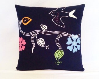 Pillow Ikea Birds in Black,Orange,Blue,Green & Pink