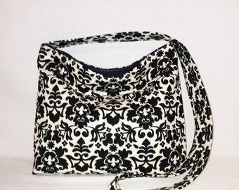Cross Body Shoulder Bag Black White Filagree