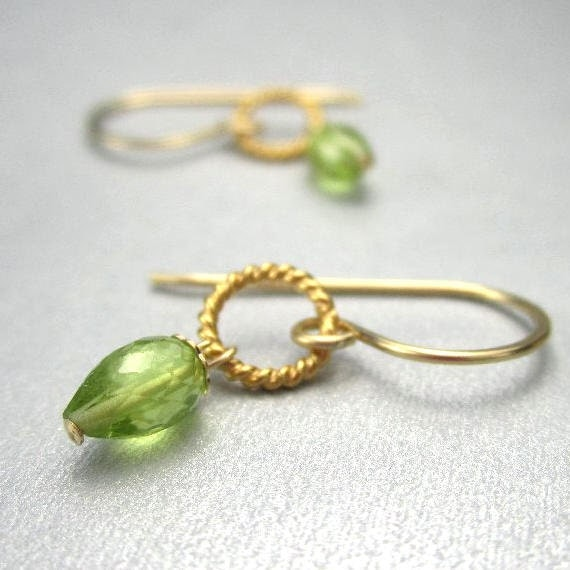 Tiny Peridot Earrings 14K Gold Filled Lime Green Gemstone August Birthstone Dangle Earrings