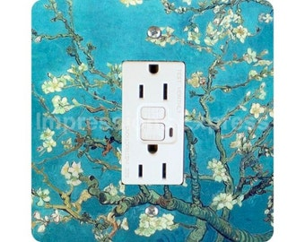 Vincent Van Gogh Almond Branches Painting Square GFI Outlet Plate Cover