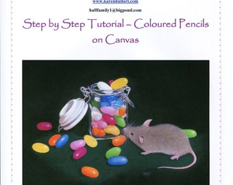 Step by Step Art Tutorial - The Curious Visitor in Coloured Pencils on Canvas