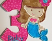 Mermaid Birthday for Older Girls - Iron On or Sew On Embroidered Appliques