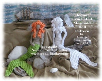 Crocheted Elegant Mermaid Doll Pattern PDF by Noreen Crone-Findlay (copyright) An exquisite fantasy doll to crochet in yarn or thread.