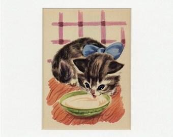 Adorable Vintage Kitten Drinking Milk Print