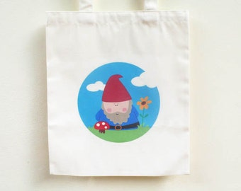 Gnome Tote bag / Garden Gnome Tote bag/ Woodland Gnome Tote/  Mushroom bag