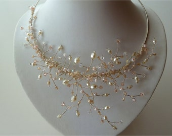 Peachy pearly branches, Wedding Bridal vine necklace. Ready to ship.