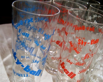 Mid Century Rare Dozen Sky-Ball Glasses in Red, White and Blue