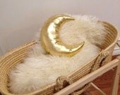 Metallic Golden Moon Pillow - Faux Leather - Moon Shape Cushion for Toddler or Baby Modern Nursery Decor - Ready to Ship