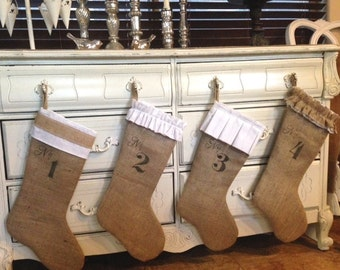 Custom Christmas Stockings  Burlap with Numbers  Set of Four