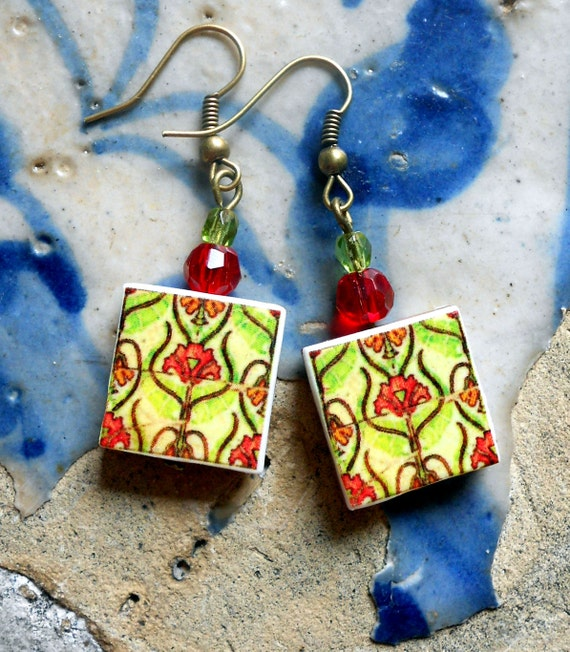 Portugal  Antique Tile Replica Earrings, Pink and Green, ART NOUVEAU - Ovar  waterproof and reversible (see actual Facade photos) 382