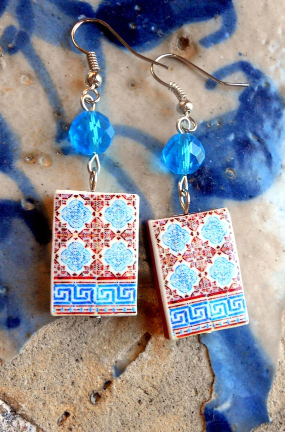 Portugal  Antique Tile Replica Earrings,  Blue and Red Geometric - MURTOSA waterproof and reversible 370