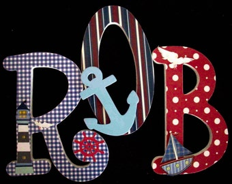 Items similar to painted wood letters for boys bedroom on etsy for Anchor decoration runescape