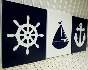 Nautical Nursery Paintings - Navy Wall Decor - Baby Boy Nursery Decor - Nursery Art - Ships Wheel Anchor Sailboat Canvas Painting - Baby Art