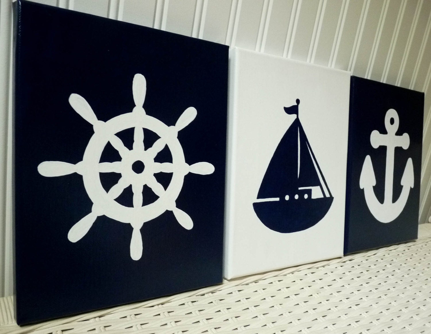 Nautical nursery paintings navy wall decor baby boy zoom amipublicfo Images