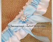 Skirted Satin Bridal Garter Rhinestone Accents....You Choose The Colors..Shown in white/light blue