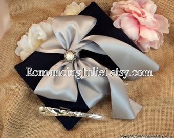 Simple Elegance Satin Guestbook Set with Delicate Pearl Accent..You Choose the Colors..Shown in Navy Midnight Blue/Silver