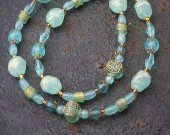 Vintage Upcycled Beaded Pearlized Turquoise Gold Lucite Necklace