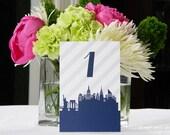 Wedding Table Numbers // City Skyline // Pattern Optional
