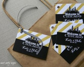 Custom Wedding Favor Tags / Personalized Welcome Bag Tags / City Skyline / Sets of 24