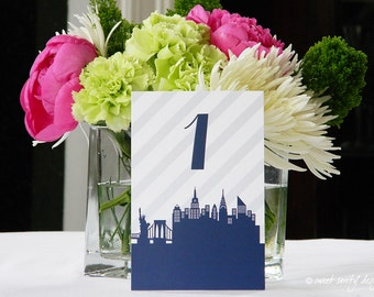 Wedding Table Numbers // City Skyline // Pattern Optional