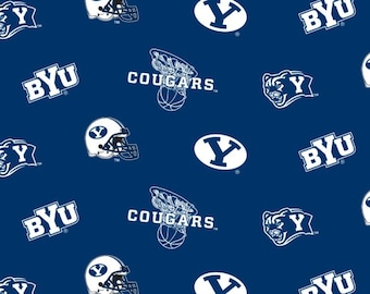 SUMMER SALE - 4 1/4 yards - Brigham Young University - BYU Cougars
