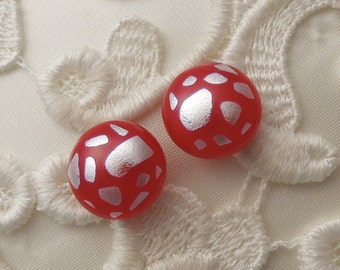 Red And Silver Earrings - Dichroic Earrings - Stud Earrings - Post Earrings - Fused Glass - Glass Earrings - Small Post X1884