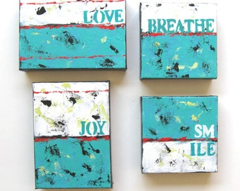 4 Inspirational Acrylic Word Paintings, Original Art on Canvas, Beach Cottage decor, Custom grouping