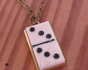 Upcycled Game Pieces - Domino Necklace - Vintage Tiny Bone Domino Brass Pendant Necklace - Lucky Number Three