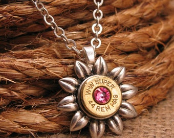 """Cancer Awareness Month - Bullet Jewelry - """"Flower Power"""" Collection - BREAST CANCER AWARENESS - Pink Flower Pendant Bullet Casing Necklace"""