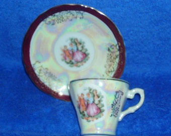 Beautiful Smaller Cup and Saucer - Pearlized Finish - Made in Japan - Crown Logo   (Item 194)