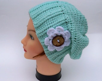 Crochet Slouchy Hat - SALE 20% OFF - Pastel Green Beanie With White Flower And Button - Women's Hat - Knit Accessories