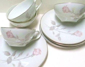 Teacups 4 Sets China Pink Roses Tea Party Princess Wedding Favors Vintage Tea Cups Saucers Matching Mix Match Orphans Mad Hatter Teacups Lot