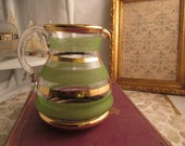Vintage Glass Pitcher Green Stripe With Gold Stripes Barware Creamer Mid Century Entertaining
