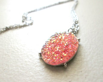 Pink Faux Druzy Necklace